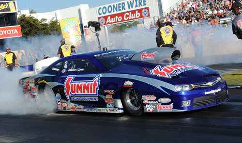 Jason Line clocked in with his 36th career win in Pro Stock