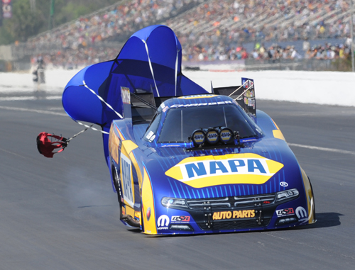 Ron Capps rode his new Dodge Charger to victory in  fuel FC.
