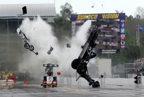 Larry Dixon provided the event's biggest moment - surviving this harrowing incident unscathed on Saturday.