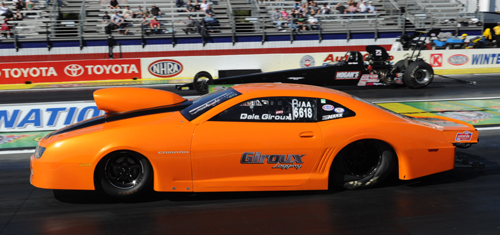The Giroux Camaro holds both ends of NHRA's B/AA national record at 6.96 secs and 198.12 mph.