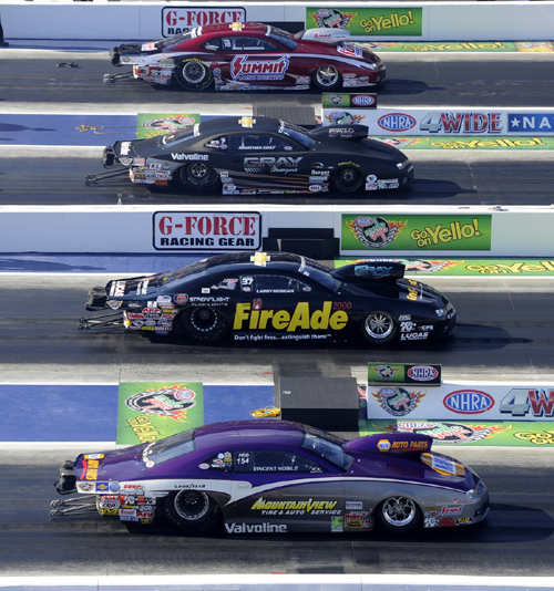 """The final round Pro Stock """"Quad"""" featured all Chevrolet Camaros."""