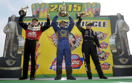 Doug Kalitta - Ron Capps & Erica Enders Stevens stool tall after eliminations yesterday at Houston.