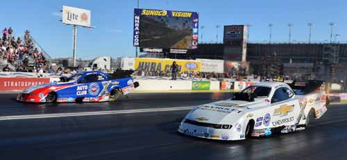 John Force bested his team mate Robert Hight in the all Chevy Fuel FC final.