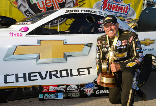 John Force won his first title of the season and his first since his much touted switch back to the Chevrolet brand.