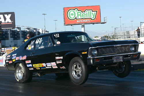 Calgary's Bob Gullett qualified #1 over a huge field of Stock eliminator racers -- hitting a 1.045 sub index run driving his F/S Chevy Nova!