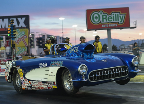 BC's Mike Shannon raced his always spectacular looking '57 Corvette in Super Gas - but lost in round #2.