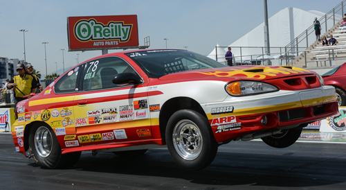 Wiley Canadian Super Stock racer Don Thomas was the top finishing racer in Super Stock -- going to the 3rd round with his reliable GT/EA Pontiac