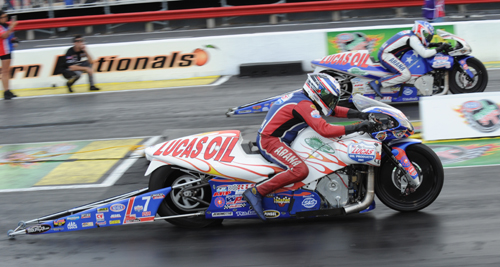 Hector Arana sped to victory driving the potent Lucas Oil Buell