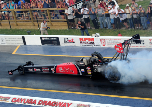 The Tim Horton's sponsored dragster shown in action at Cayuga in 2011