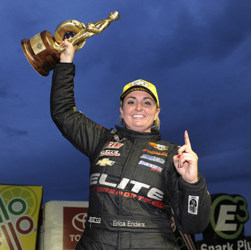 Erica Enders rolled to a convincing victory at NHRA Topeka - to reassume the Pro Stock points lead.