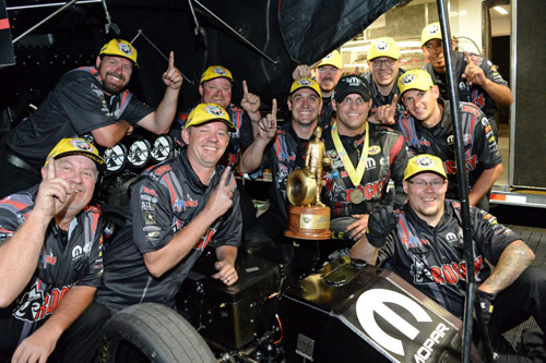 Matt Hagan celebrates his 18th career victory with his talented supporting staff!