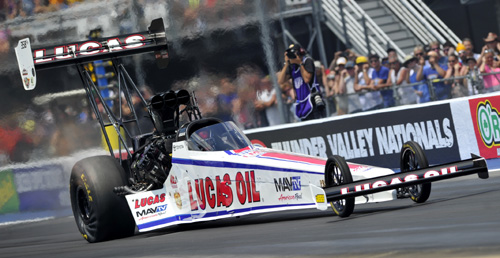 Driving for Lucas Oil - Australia-born Ritchie Crampton notched his 5th career win in Top Fuel