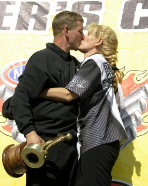Billy and wife Shannon celebrate in victory lane!