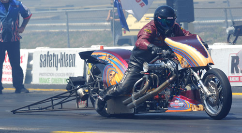 2014 IHRA Nitro Harley World Champion - Mike Scott - will be at Grand Bend this weekend.