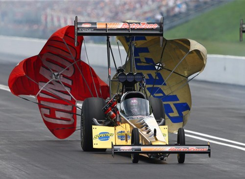 "Leah Pruett debuted this great looking ""Gumout Gold"" dragster at Bristol"