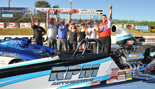 Mike Shannon won in both Super Comp and Super Gas during the recent NHRA LODRS race held at Mission BC