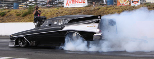 Jay Syvertsen's  very cool screw-blown '57 Chevy was part of the WDRL event program