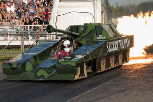 Tim Boychuk took some rides in the Secret Weapon jet-powered tank!