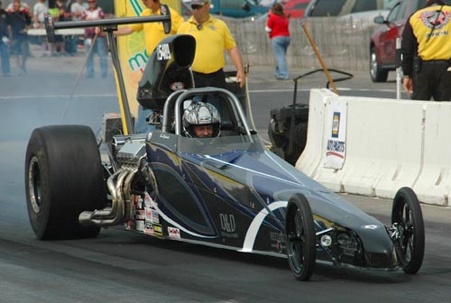 Len Stauss (from Winnipeg) had his S&W Chevy powered car at BIR for Super Comp racing.