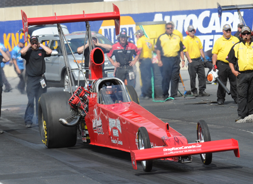 NHRA circuit regular Jeff Veale (from Stoney Creek) will make a rare Canadian date with his injected nitro car this weekend!