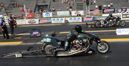 Bob Malloy (far lane) won the Nitro Harley title.