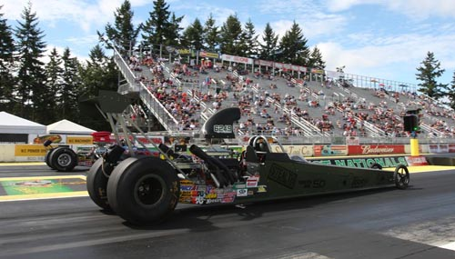 Alberta's Francesca Giroux had a great run in Super Comp with her Military-themed dragster - losing only in the semi-final round!