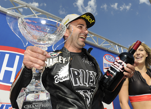 """Eddie Krawiec won both the event and the added attraction """"Pro Stock Bike Battle"""""""
