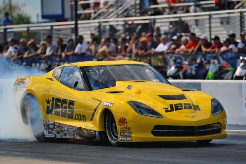 Troy Coughlin produced the event's most harrowing incident driving his Jegs Mail Order C7