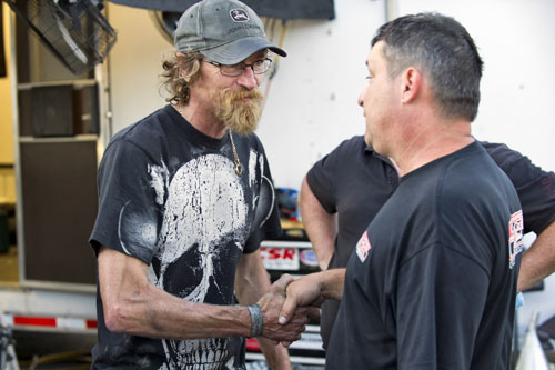 This is the Pro Mod Final - a handshake between Canadians Paolo Guist and Derek Hawker