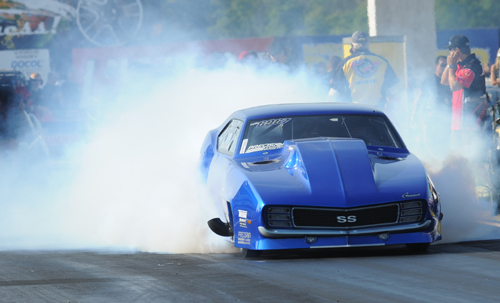 Edmonton's Jim Bell did some mongo burnouts at Indy with his turbo Pro Mod Camaro -- but fell well short of the record quick PM bump.