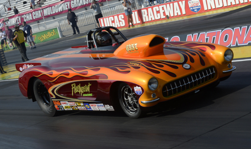 Ed Hutchison brought his award winning '57 Corvette to Indy all the way from Vancouver Island -- but lost to eventual winner Lee Klingensmith in round two of Super Gas