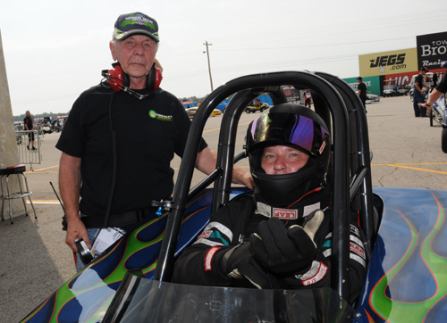 Bud and Steven Pohill entered their unique Ford-powered H/EA in Comp and  won their first round.