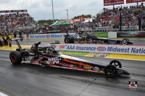 Luke Bogacki ran his consecutive round winning streak to 27 straight when he took the stripe first at NHRA St. Louis.