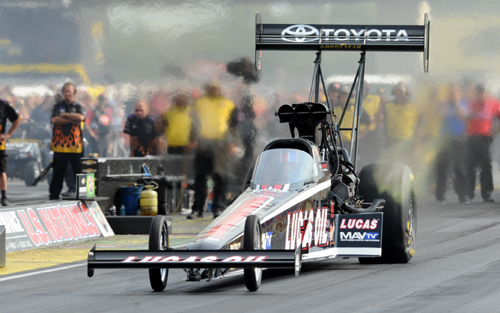 Morgan Lucas won convincingly racing the potent Lucas Oil Top Fuel Dragster