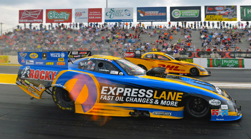 While qualifying #1 -- Matt Hagan hit an astounding 330.47 mph in his Mopar Express Lane / Rocky Boots Dodge Charger R/T - the fastest ever FC run.