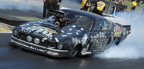 "Mike Knowles raced his special ""Mob Edition"" Ford Mustang to victory in Pro Mod at St. Louis."