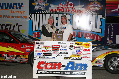Bob Park (left) topped Brian Clayton in the Smith Performance Specialties Can-Am Stock/SS feature