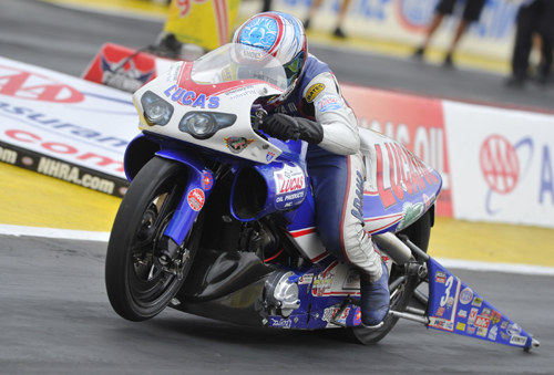 Racing for sponsor Lucas Oil - Hector Arana Jr topped the Pro Stock Motorcycle division/