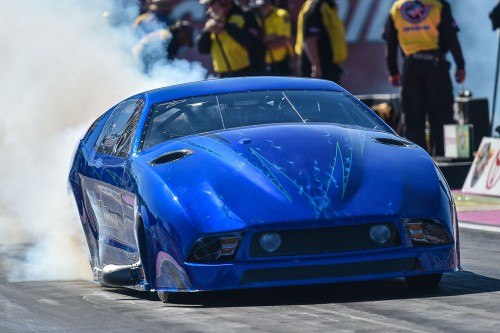 The highly anticipated return of the JB Power Centre Pro Mod Mustang owned by Jim Bell occurred at Las Vegas with U.S.-based driver Kevin Fisucs.  The rebuilt machine had a very promising best run of 5.980 secs.