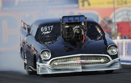 Edmonton's Wade Sjostrom entered his great looking '57 in Nostalgia Pro Mod - but just missed the 8-car field with a best of 7.037 secs.