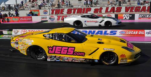 Troy Coughlin clinched his title when he won this battle of C7 Corvettes in round #2 at Las Vegas