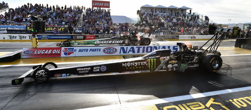 The Top Fuel final at Phoenix saw Leah Pritchett (far lane) defeat Brittany Force