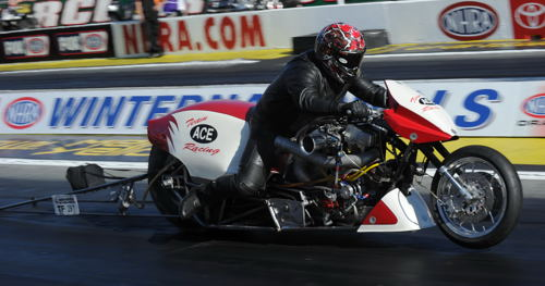 Edmonton's Kevin Boyer well represented his sponsor Ace Manufacturing at Pomona with a R/UP finish in the Top Fuel Harley exhibition event.