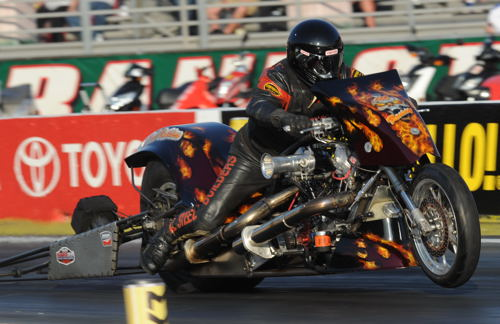 Craig Perline was one of two Perline Brothers bikes entered in the event's Top Fuel Harley division.