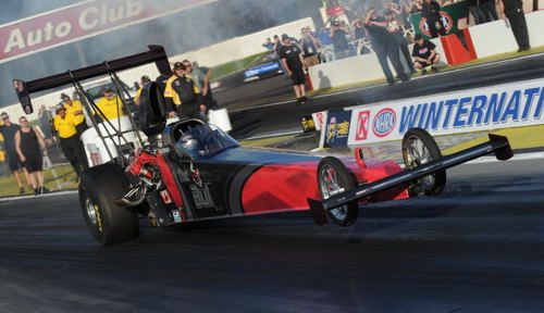 """Winnipeg's Gord Gingles took """"the Bull"""" to a very fast initial run at Pomona"""