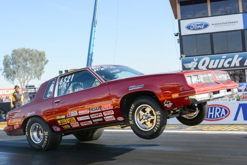 Calgary's Charlene Gullett qualified her high-flying '85 Olds Cutlass in the middle of the Super Stock pack
