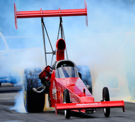 Jeff Veale's powerful injected nitro car (from Stoney Creek ON) qualified #8 in TAD with a 5.384 secs - but lost out in round #1