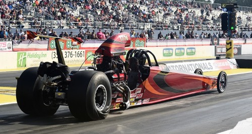 "Tom Orr (from Shawville PQ) went the furtherest in elimiantions overall for Canada - placing in the T/D ""final four"" with his new Undercover-chassied dragster."