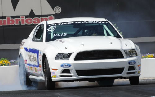 Jim Harrington won in Stock with his Cobra Jet Mustang