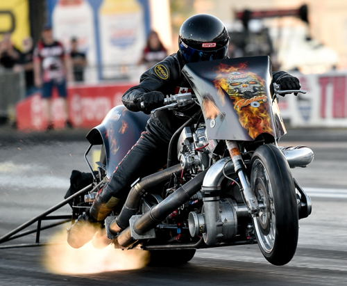 Craig Pelrine (from Red Water AB) wheeled his awesome machine to the events' added attraction Top Fuel Harley title.
